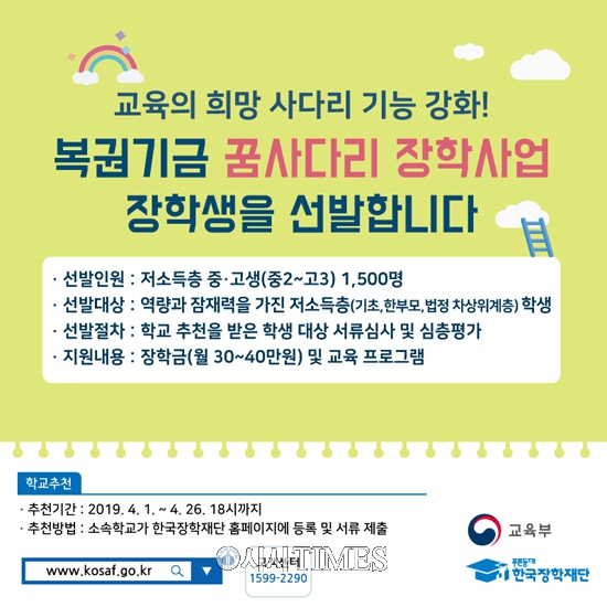교육부, '복권기금 꿈사다리 장학사업' 시범운영…1500명 선발