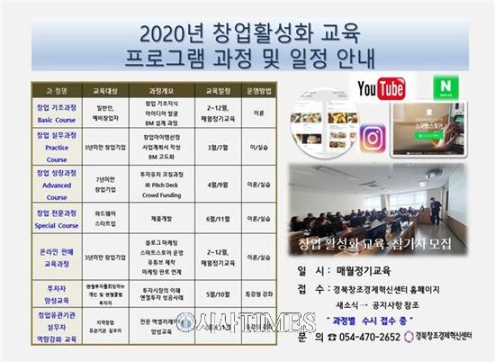 경북창조경제혁신센터, 2020년 창업 활성화 교육 참여자 모집