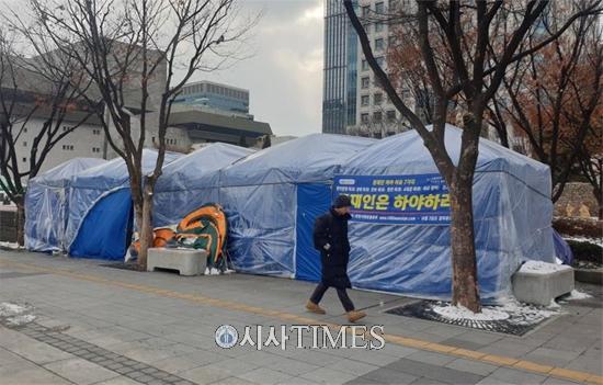 서울시, 코로나19 확산대비 광화문세종대로 집회천막 철거