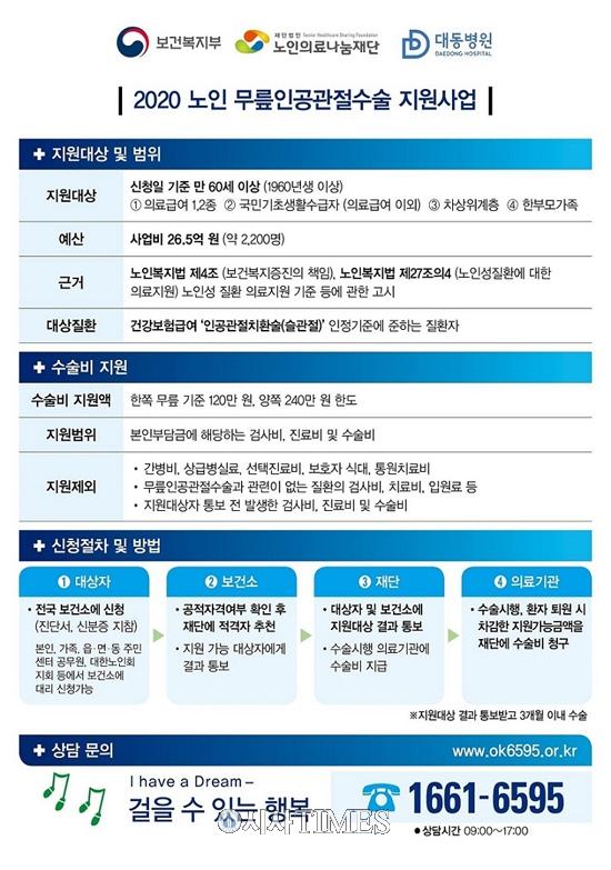 대동병원, '2020 노인 무릎 인공관절 수술 지원사업' 협약 체결
